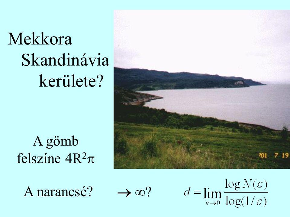 Mekkora Skandinávia kerülete?     A gömb felszíne 4R 2  A narancsé?   ?