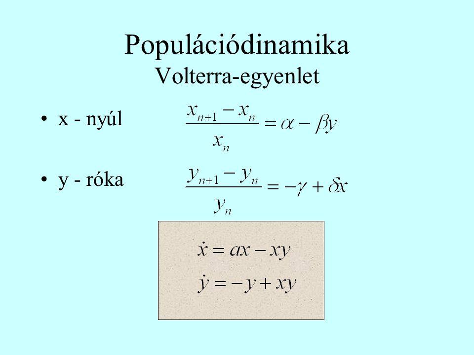 Populációdinamika Volterra-egyenlet •x - nyúl •y - róka