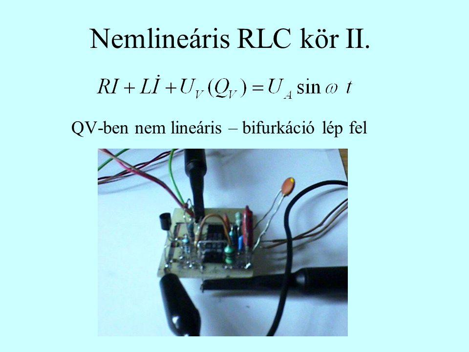 Nemlineáris RLC kör II. QV-ben nem lineáris – bifurkáció lép fel
