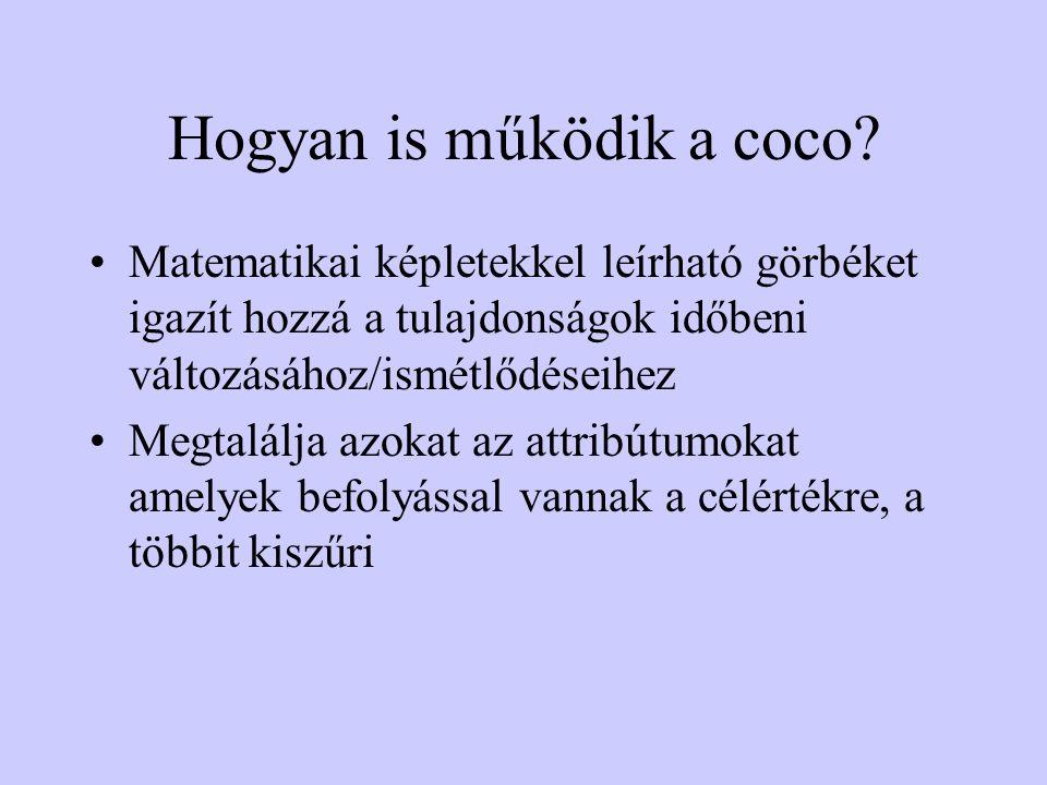 Hogyan is működik a coco? •Matematikai képletekkel leírható görbéket igazít hozzá a tulajdonságok időbeni változásához/ismétlődéseihez •Megtalálja azo