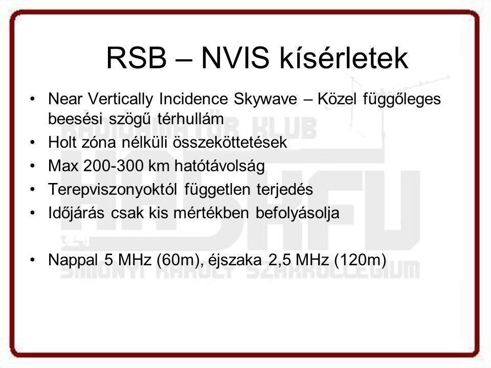 •Near Vertically Incidence Skywave – Közel függőleges beesési szögű térhullám •Holt zóna nélküli összeköttetések •Max 200-300 km hatótávolság •Terepviszonyoktól független terjedés •Időjárás csak kis mértékben befolyásolja •Nappal 5 MHz (60m), éjszaka 2,5 MHz (120m) RSB – NVIS kísérletek