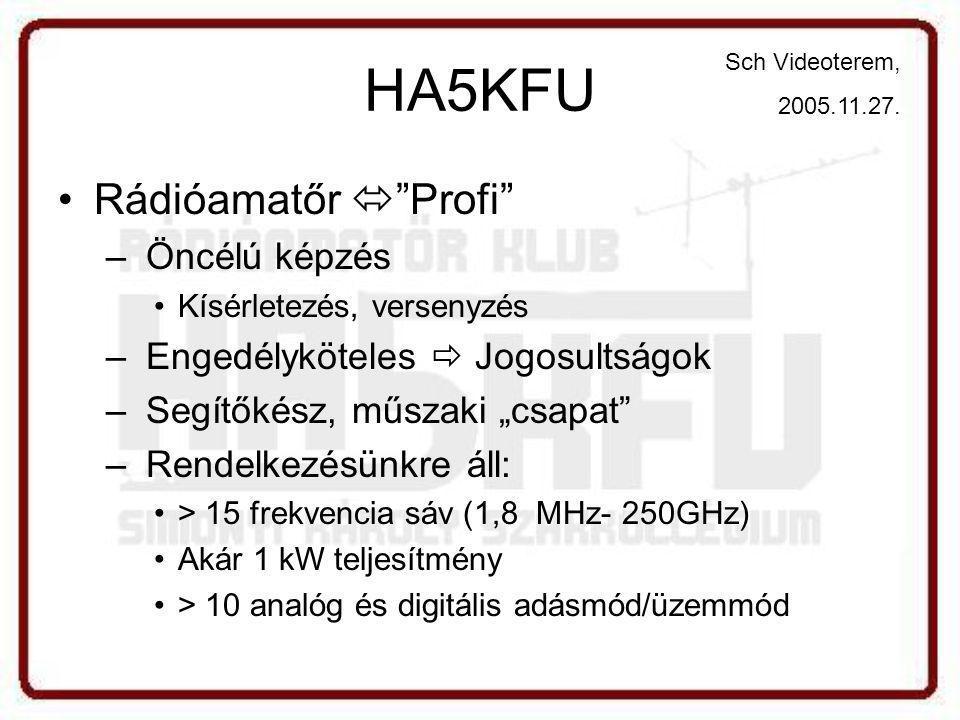 """HA5KFU •Rádióamatőr  Profi – Öncélú képzés •Kísérletezés, versenyzés – Engedélyköteles  Jogosultságok – Segítőkész, műszaki """"csapat – Rendelkezésünkre áll: •> 15 frekvencia sáv (1,8 MHz- 250GHz) •Akár 1 kW teljesítmény •> 10 analóg és digitális adásmód/üzemmód Sch Videoterem, 2005.11.27."""