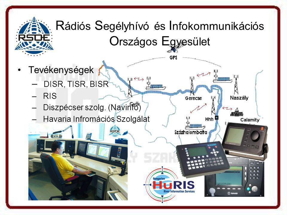 R ádiós S egélyhívó és I nfokommunikációs O rszágos E gyesület •Tevékenységek – DISR, TISR, BISR – RIS – Diszpécser szolg.