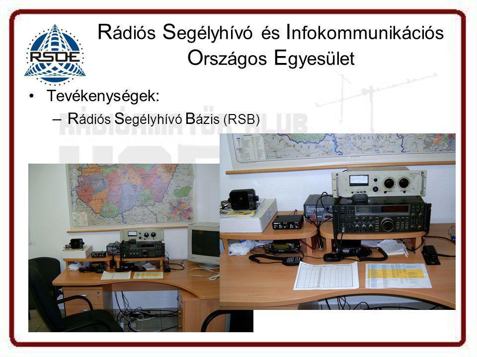 R ádiós S egélyhívó és I nfokommunikációs O rszágos E gyesület •Tevékenységek: –R ádiós S egélyhívó B ázis (RSB)
