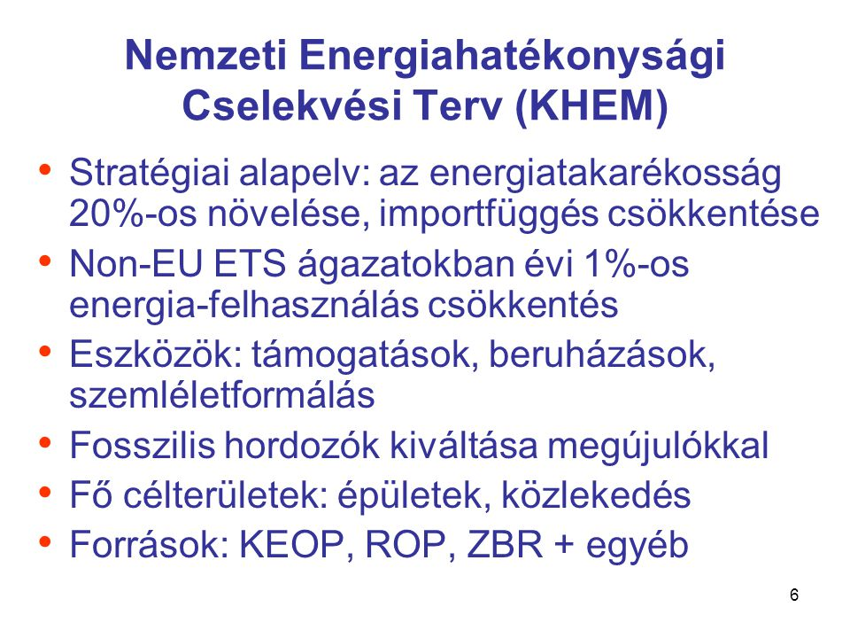 7 Nemzeti Megújuló Energia stratégia (NFGM) • Megújuló energia útiterv (Bizottság, 2006) • 2020-ig 20% megújuló • 2020-ig 10% biodízel (2010-ig 6%) • Megoszlás ma: – 90% biomassza (ennek ~60%-a tüzifa) – 6,5% geotermikus – 1,7% bioüzemanyag • Zöld áram: 4%, napelem: ~0%...