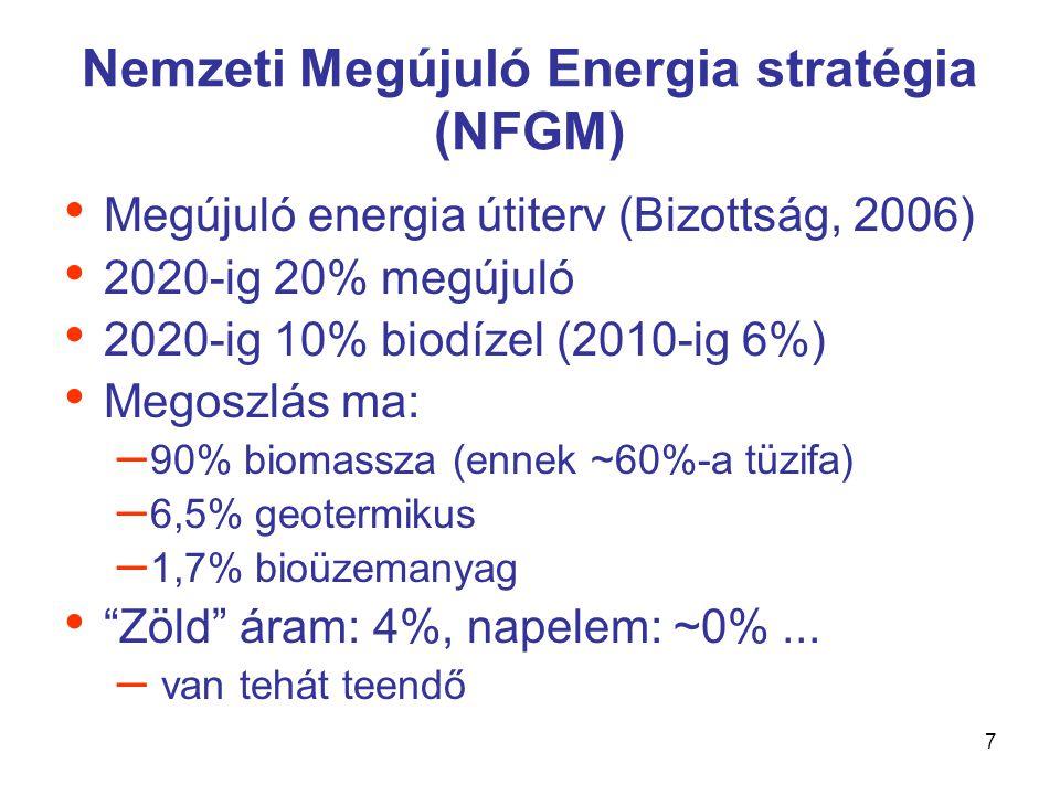 8 Klímatörvény • Energiahatékonyság (relatív csökkentés) • Energiatakarékosság (abszolút csökkentés) • Fosszilis limit bevezetése (kvótarendszer) • Bemeneti (input-oldali) szabályozás • Megújuló erőforrások használata (atomenergia?) • Alternatív technológiák fejlesztése (talaj, földművelés) • Fogyasztási szerkezet átalakítása (hazai termékek) • Fenntarthatóság (környezeti, gazdasági, szociális) • Szemléletformálás (+jogszabályok, intézmények, adók) • EU Klíma-energia csomag: 3X20 – 20 % kibocsátás-csökkentés, – 20 % energiafelhasználás-csökkentés – 20 % megújuló energia részarány • Koppenhága, poszt-Kiotó (leváltás.