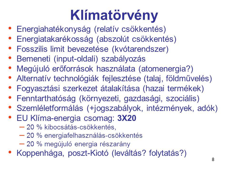 8 Klímatörvény • Energiahatékonyság (relatív csökkentés) • Energiatakarékosság (abszolút csökkentés) • Fosszilis limit bevezetése (kvótarendszer) • Bemeneti (input-oldali) szabályozás • Megújuló erőforrások használata (atomenergia ) • Alternatív technológiák fejlesztése (talaj, földművelés) • Fogyasztási szerkezet átalakítása (hazai termékek) • Fenntarthatóság (környezeti, gazdasági, szociális) • Szemléletformálás (+jogszabályok, intézmények, adók) • EU Klíma-energia csomag: 3X20 – 20 % kibocsátás-csökkentés, – 20 % energiafelhasználás-csökkentés – 20 % megújuló energia részarány • Koppenhága, poszt-Kiotó (leváltás.