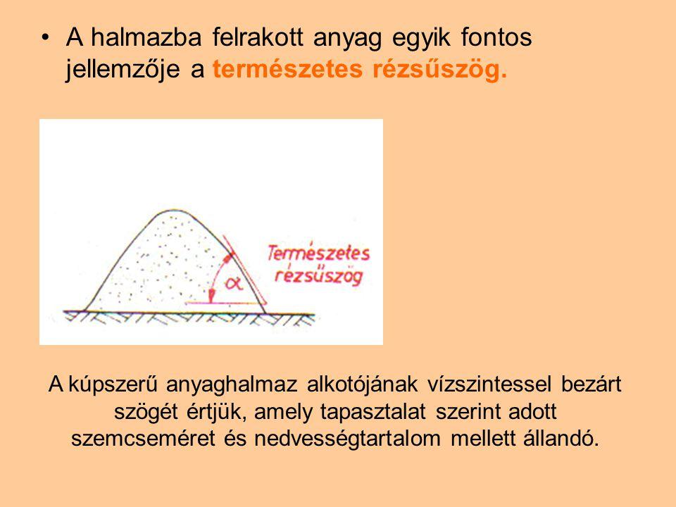  Valamely szállítóberendezéssel folytonos anyagáramban továbbított anyagmennyiséget a következőképpen számíthatjuk ki: A - az anyagáram keresztmetszetének felülete, W -az anyag haladási sebessége, - az anyag látszólagos (ömlesztett) sűrűsége.