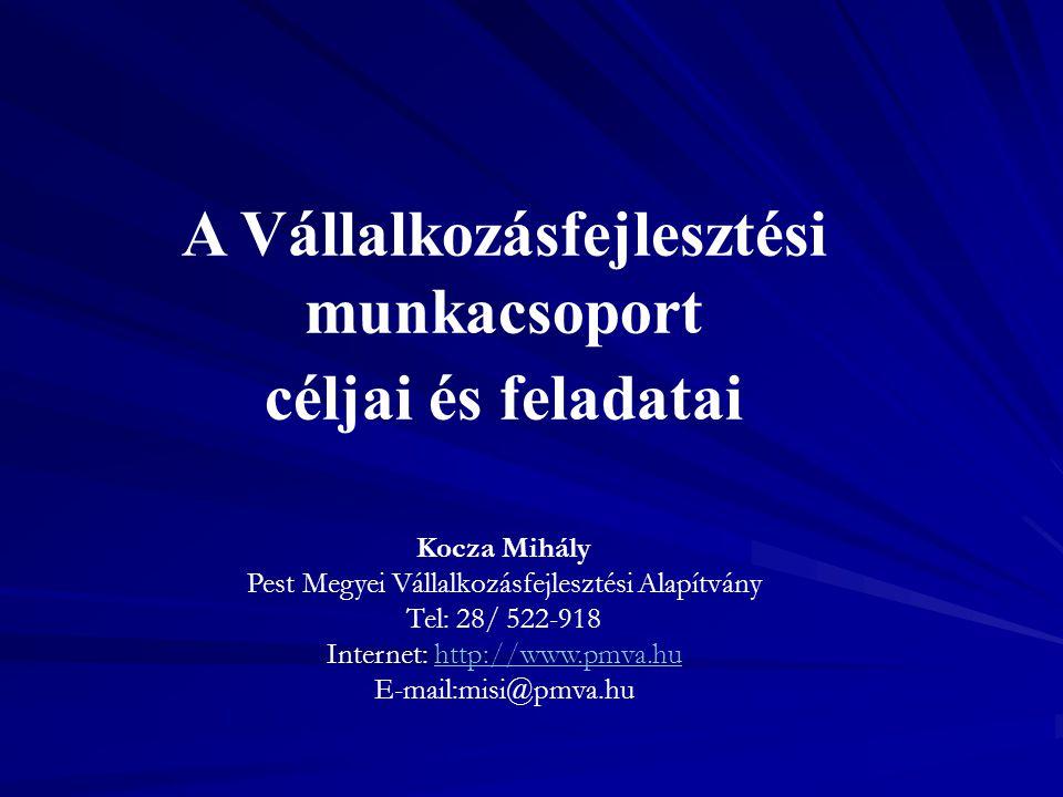 A Vállalkozásfejlesztési munkacsoport céljai és feladatai Kocza Mihály Pest Megyei Vállalkozásfejlesztési Alapítvány Tel: 28/ 522-918 Internet: http:/