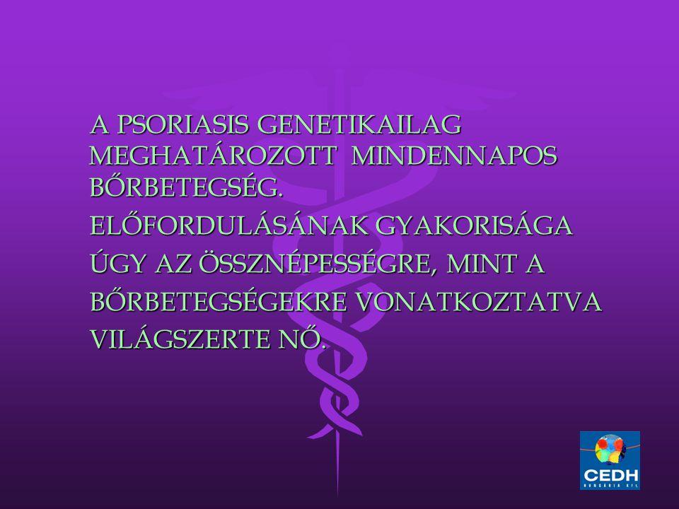 A PSORIASIS GENETIKAILAG MEGHATÁROZOTT MINDENNAPOS BŐRBETEGSÉG. A PSORIASIS GENETIKAILAG MEGHATÁROZOTT MINDENNAPOS BŐRBETEGSÉG. ELŐFORDULÁSÁNAK GYAKOR