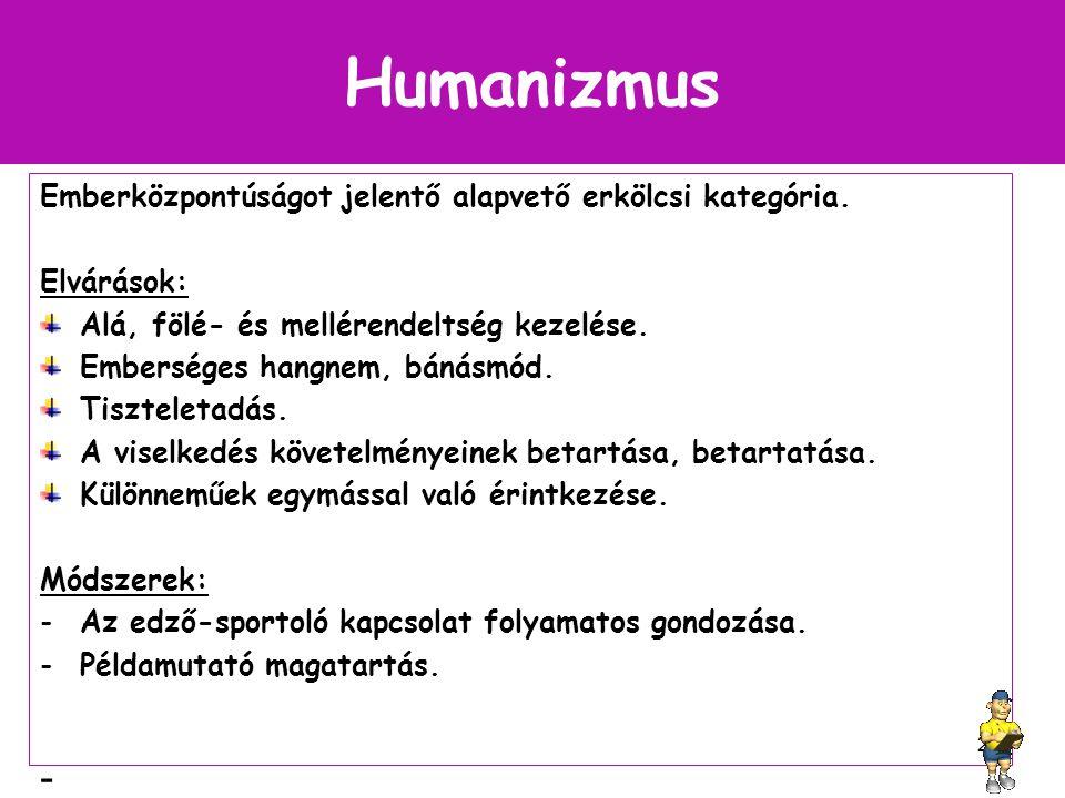 Humanizmus Emberközpontúságot jelentő alapvető erkölcsi kategória.