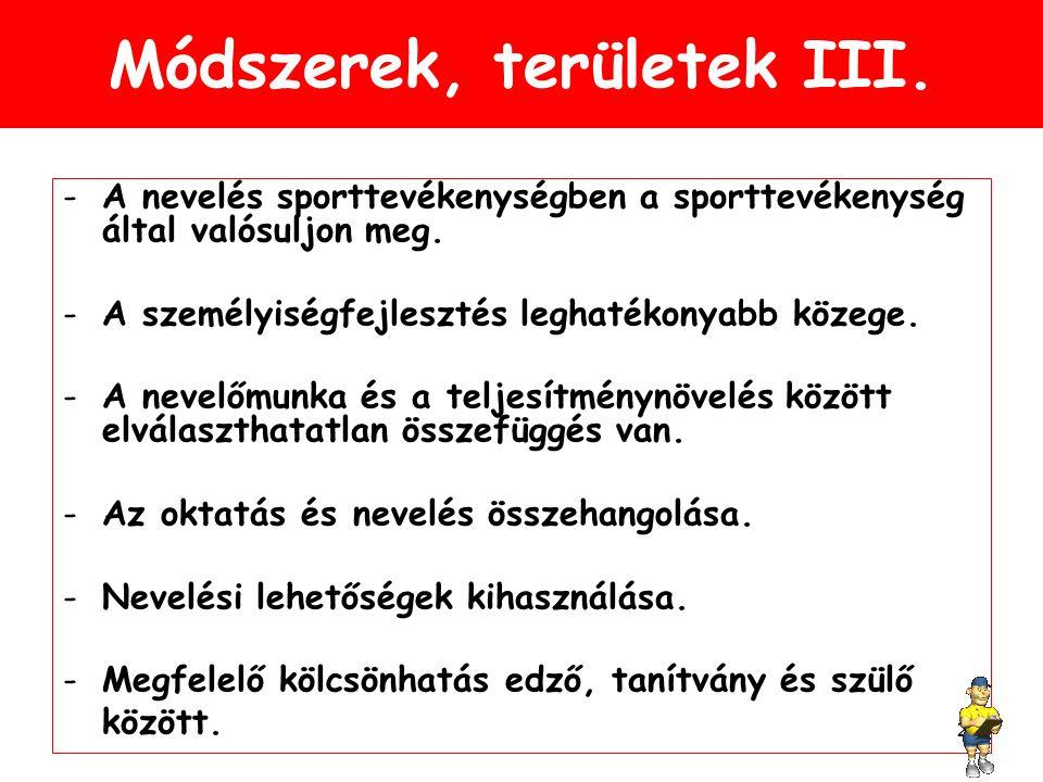 Módszerek, területek III.-A nevelés sporttevékenységben a sporttevékenység által valósuljon meg.