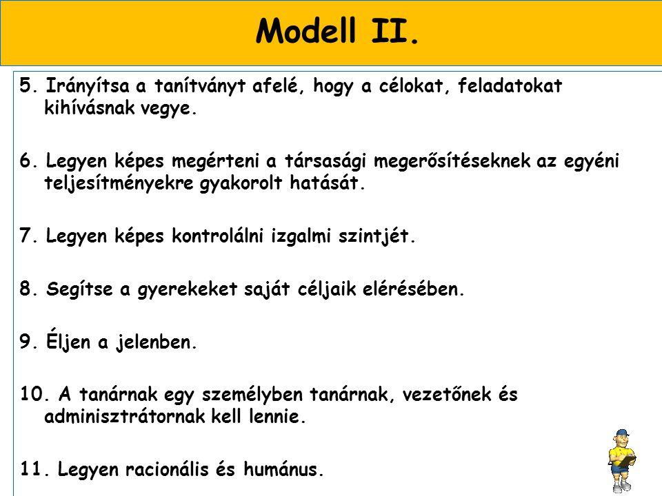 Modell II.5. Irányítsa a tanítványt afelé, hogy a célokat, feladatokat kihívásnak vegye.
