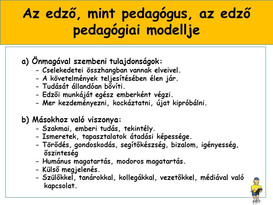 Az edző, mint pedagógus, az edző pedagógiai modellje a) Önmagával szembeni tulajdonságok: - Cselekedetei összhangban vannak elveivel.