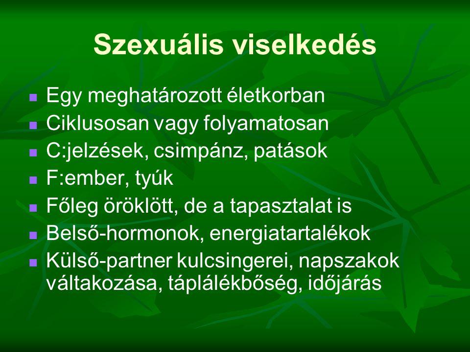 Szexuális viselkedés   Egy meghatározott életkorban   Ciklusosan vagy folyamatosan   C:jelzések, csimpánz, patások   F:ember, tyúk   Főleg ö