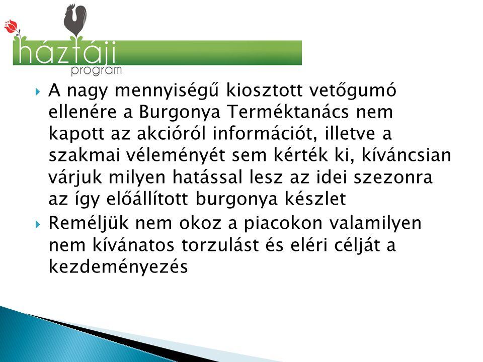  A nagy mennyiségű kiosztott vetőgumó ellenére a Burgonya Terméktanács nem kapott az akcióról információt, illetve a szakmai véleményét sem kérték ki, kíváncsian várjuk milyen hatással lesz az idei szezonra az így előállított burgonya készlet  Reméljük nem okoz a piacokon valamilyen nem kívánatos torzulást és eléri célját a kezdeményezés