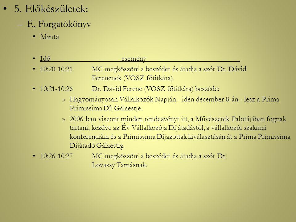 •5. Előkészületek: –F., Forgatókönyv •Minta •Időesemény •10:20-10:21MC megköszöni a beszédet és átadja a szót Dr. Dávid Ferencnek (VOSZ főtitkára). •1