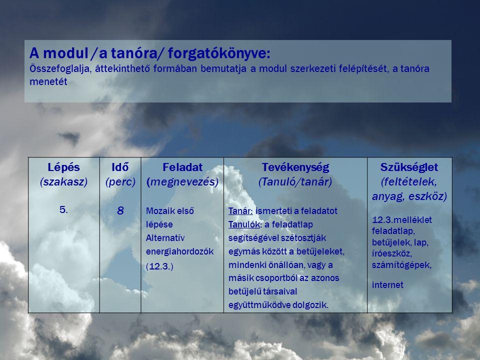 A modul /a tanóra/ forgatókönyve: Összefoglalja, áttekinthető formában bemutatja a modul szerkezeti felépítését, a tanóra menetét Lépés (szakasz) 5.
