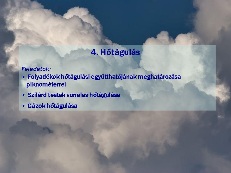 4. Hőtágulás Feladatok: • Folyadékok hőtágulási együtthatójának meghatározása piknométerrel • Szilárd testek vonalas hőtágulása • Gázok hőtágulása