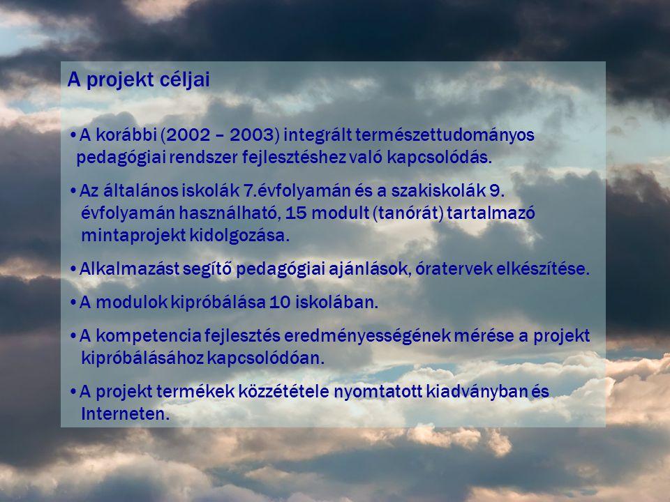 A projekt céljai •A korábbi (2002 – 2003) integrált természettudományos pedagógiai rendszer fejlesztéshez való kapcsolódás.