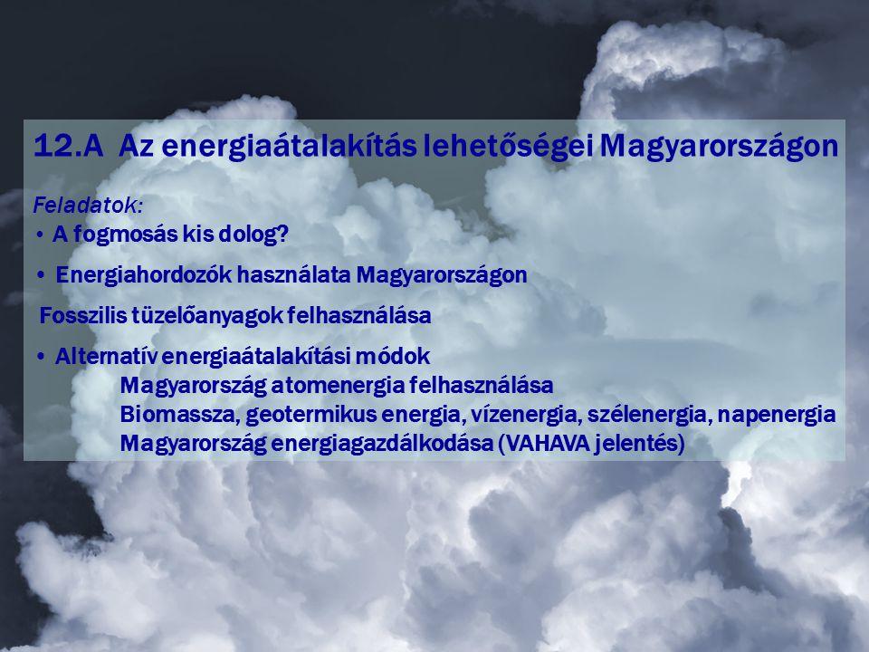 12.A Az energiaátalakítás lehetőségei Magyarországon Feladatok: • A fogmosás kis dolog.