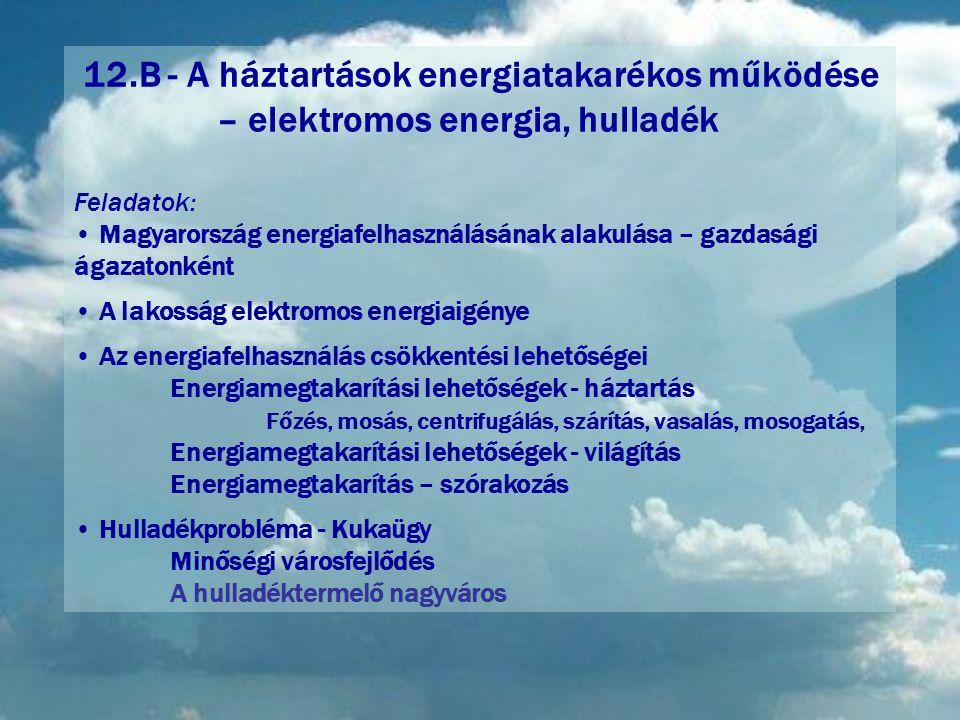12.B - A háztartások energiatakarékos működése – elektromos energia, hulladék Feladatok: • Magyarország energiafelhasználásának alakulása – gazdasági ágazatonként • A lakosság elektromos energiaigénye • Az energiafelhasználás csökkentési lehetőségei Energiamegtakarítási lehetőségek - háztartás Főzés, mosás, centrifugálás, szárítás, vasalás, mosogatás, Energiamegtakarítási lehetőségek - világítás Energiamegtakarítás – szórakozás • Hulladékprobléma - Kukaügy Minőségi városfejlődés A hulladéktermelő nagyváros