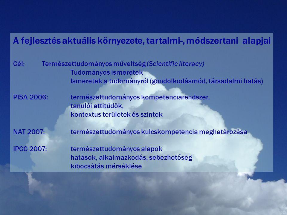 A fejlesztés aktuális környezete, tartalmi-, módszertani alapjai Cél:Természettudományos műveltség (Scientific literacy) Tudományos ismeretek Ismeretek a tudományról (gondolkodásmód, társadalmi hatás) PISA 2006:természettudományos kompetenciarendszer, tanulói attitűdök, kontextus területek és szintek NAT 2007: természettudományos kulcskompetencia meghatározása IPCC 2007:természettudományos alapok hatások, alkalmazkodás, sebezhetőség kibocsátás mérséklése