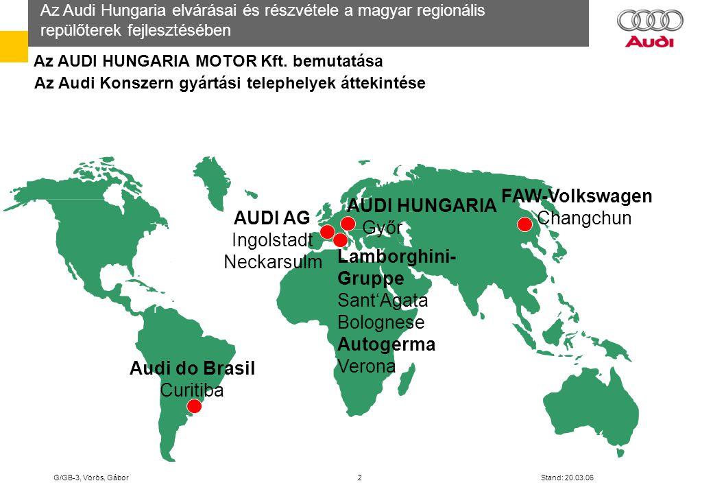 Az Audi Hungaria elvárásai és részvétele a magyar regionális repülőterek fejlesztésében G/GB-3, Vörös, Gábor 13 Stand: 20.03.06 Az Audi által üzemeltetett menetrendszerinti repülőjáratok (személyszállítás) Győr – Pér (Bratislava) Ingolstadt - Manching Wolfsburg - Braunschweig Audi VW Manching – Pér – Mancing vonalon 2005 – ben: - 562 repülőjárat - 11.000 nemzetközi utas