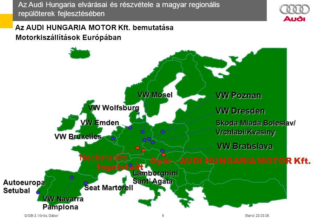 Az Audi Hungaria elvárásai és részvétele a magyar regionális repülőterek fejlesztésében G/GB-3, Vörös, Gábor 7 Stand: 20.03.06 Az AUDI HUNGARIA MOTOR Kft.
