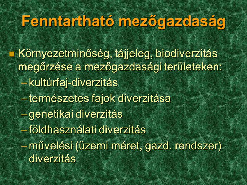 n Környezetminőség, tájjeleg, biodiverzitás megőrzése a mezőgazdasági területeken: –kultúrfaj-diverzitás –természetes fajok diverzitása –genetikai diverzitás –földhasználati diverzitás –művelési (üzemi méret, gazd.