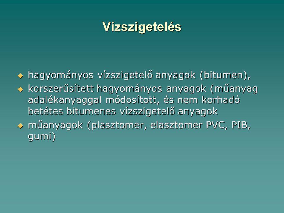 Vízszigetelés  hagyományos vízszigetelő anyagok (bitumen),  korszerűsített hagyományos anyagok (műanyag adalékanyaggal módosított, és nem korhadó betétes bitumenes vízszigetelő anyagok  műanyagok (plasztomer, elasztomer PVC, PIB, gumi)