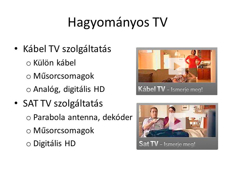 Hagyományos TV • Kábel TV szolgáltatás o Külön kábel o Műsorcsomagok o Analóg, digitális HD • SAT TV szolgáltatás o Parabola antenna, dekóder o Műsorcsomagok o Digitális HD