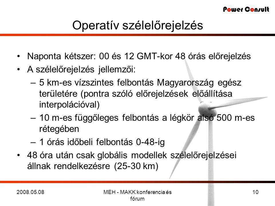 2008.05.08MEH - MAKK konferencia és fórum 10 Operatív szélelőrejelzés •Naponta kétszer: 00 és 12 GMT-kor 48 órás előrejelzés •A szélelőrejelzés jellemzői: –5 km-es vízszintes felbontás Magyarország egész területére (pontra szóló előrejelzések előállítása interpolációval) –10 m-es függőleges felbontás a légkör alsó 500 m-es rétegében –1 órás időbeli felbontás 0-48-ig •48 óra után csak globális modellek szélelőrejelzései állnak rendelkezésre (25-30 km)