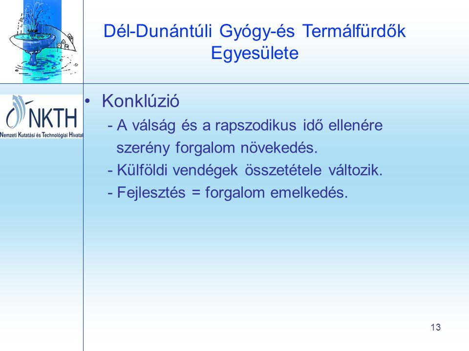 Dél-Dunántúli Gyógy-és Termálfürdők Egyesülete 13 •Konklúzió - A válság és a rapszodikus idő ellenére szerény forgalom növekedés.