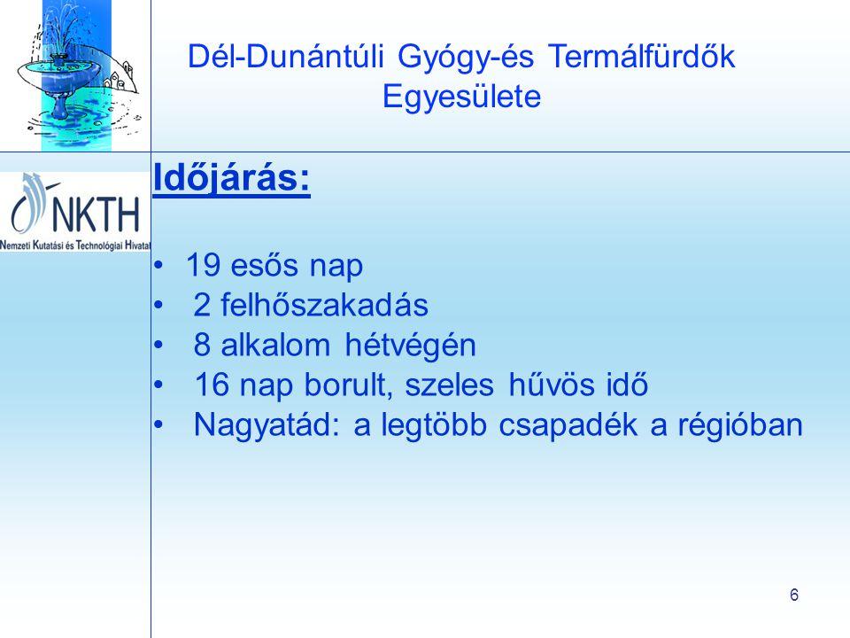 Dél-Dunántúli Gyógy-és Termálfürdők Egyesülete 6 Időjárás: •19 esős nap • 2 felhőszakadás • 8 alkalom hétvégén • 16 nap borult, szeles hűvös idő • Nagyatád: a legtöbb csapadék a régióban