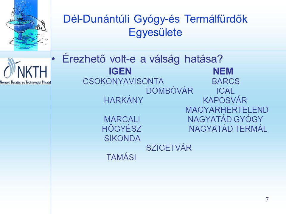 Dél-Dunántúli Gyógy-és Termálfürdők Egyesülete 7 •Érezhető volt-e a válság hatása.