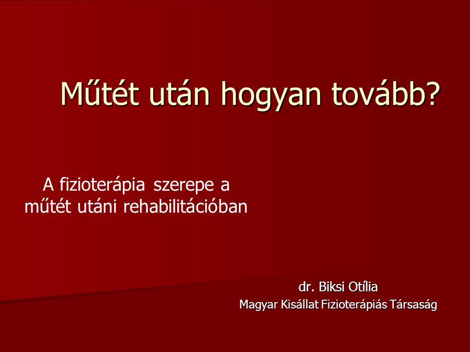 Műtét után hogyan tovább? dr. Biksi Otília Magyar Kisállat Fizioterápiás Társaság A fizioterápia szerepe a műtét utáni rehabilitációban