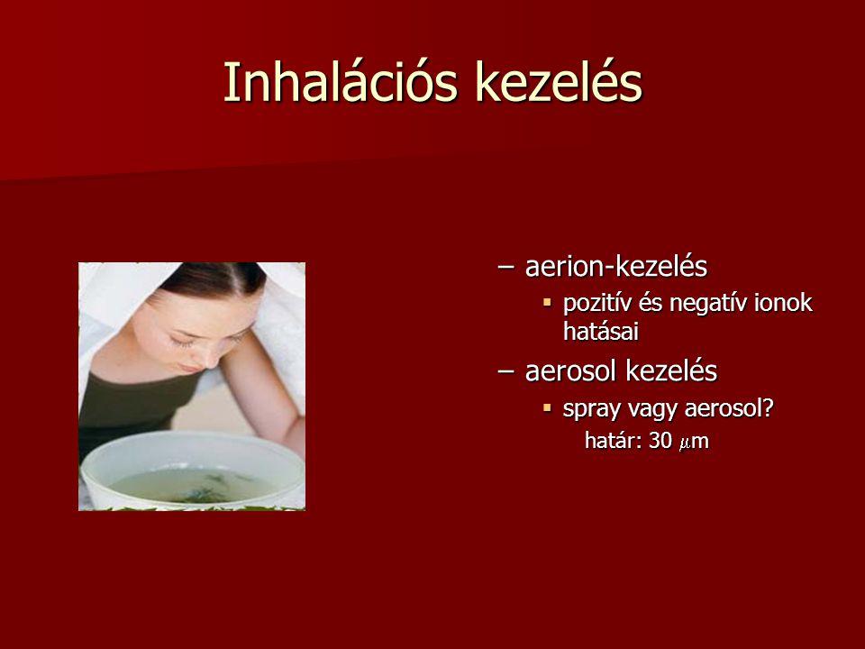 Inhalációs kezelés –aerion-kezelés  pozitív és negatív ionok hatásai –aerosol kezelés  spray vagy aerosol? határ: 30  m