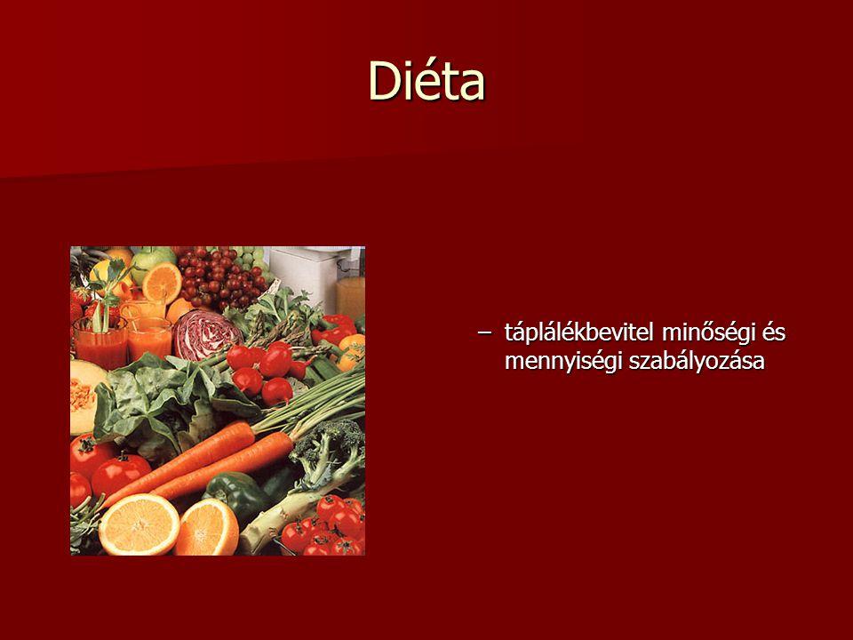 Diéta –táplálékbevitel minőségi és mennyiségi szabályozása