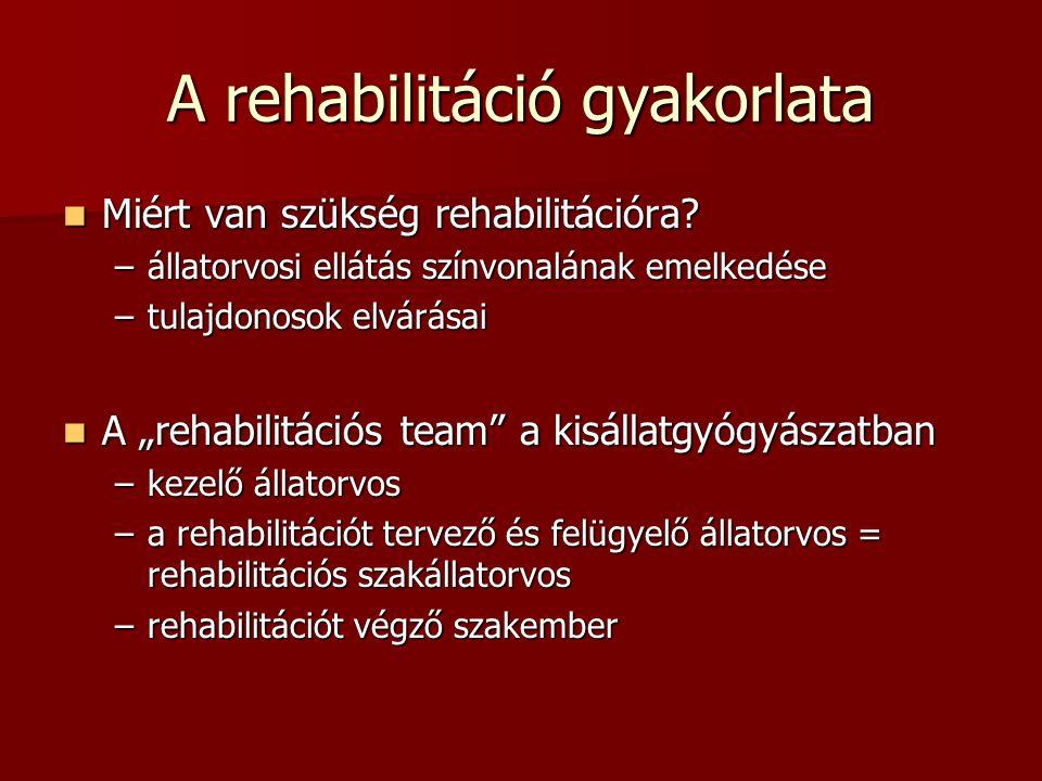 """A rehabilitáció gyakorlata  Miért van szükség rehabilitációra? –állatorvosi ellátás színvonalának emelkedése –tulajdonosok elvárásai  A """"rehabilitác"""