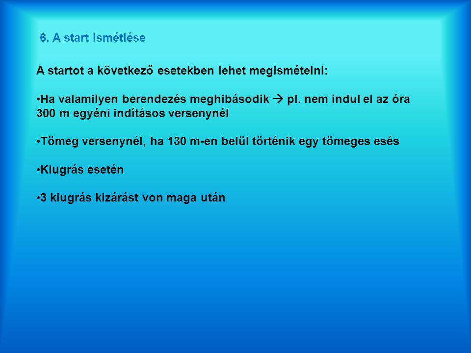 6. A start ismétlése A startot a következő esetekben lehet megismételni: •Ha valamilyen berendezés meghibásodik  pl. nem indul el az óra 300 m egyéni