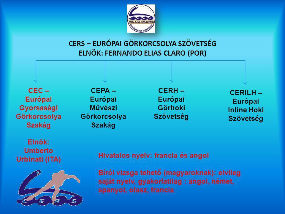 CERS – EURÓPAI GÖRKORCSOLYA SZÖVETSÉG ELNÖK: FERNANDO ELIAS CLARO (POR) CEC – Európai Gyorsasági Görkorcsolya Szakág Elnök: Umberto Urbinati (ITA) CEPA – Európai Művészi Görkorcsolya Szakág CERH – Európai Görhoki Szövetség CERILH – Európai Inline Hoki Szövetség Hivatalos nyelv: francia és angol Bírói vizsga tehető (magyaroknak): elvileg saját nyelv, gyakorlatilag : angol, német, spanyol, olasz, francia
