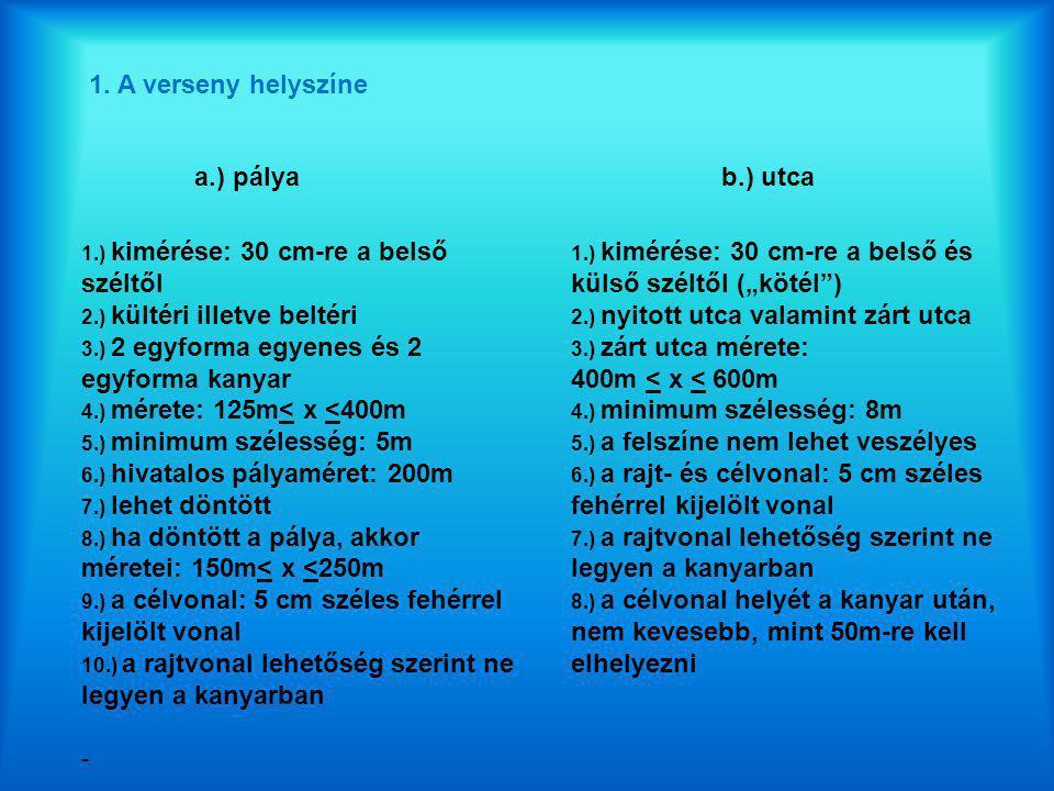 1. A verseny helyszíne a.) pályab.) utca 1.) kimérése: 30 cm-re a belső széltől 2.) kültéri illetve beltéri 3.) 2 egyforma egyenes és 2 egyforma kanya