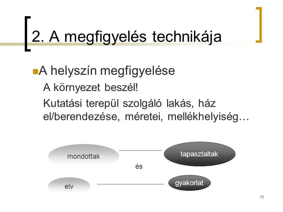 11 2.A megfigyelés technikája  A helyszín megfigyelése A környezet beszél.