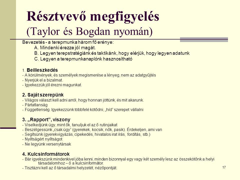 17 Résztvevő megfigyelés (Taylor és Bogdan nyomán) Bevezetés - a terepmunka három fő erénye: A.