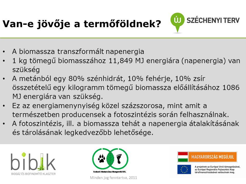 Van-e jövője a termőföldnek? • A biomassza transzformált napenergia • 1 kg tömegű biomasszához 11,849 MJ energiára (napenergia) van szükség • A metánb