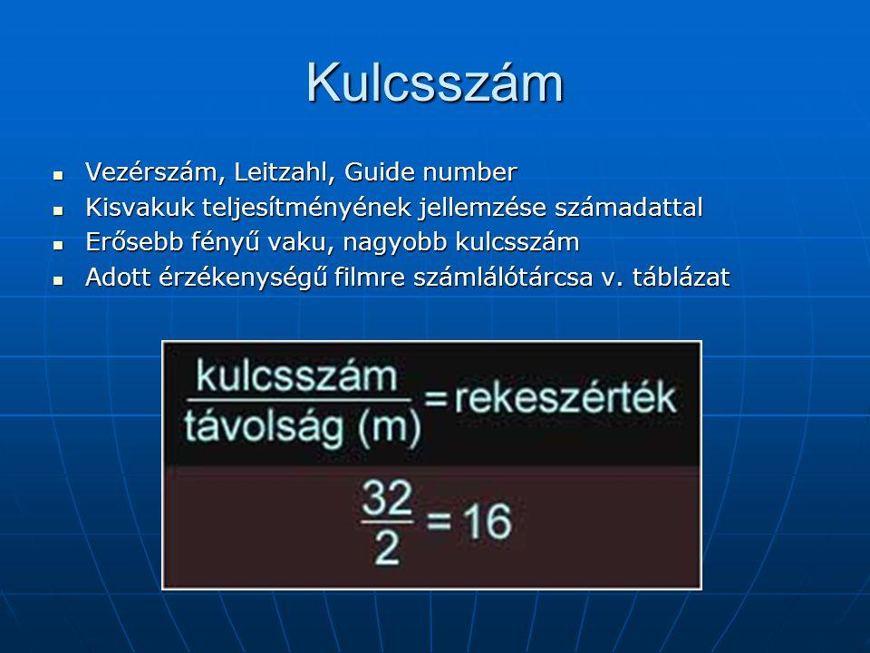 Kulcsszám  Vezérszám, Leitzahl, Guide number  Kisvakuk teljesítményének jellemzése számadattal  Erősebb fényű vaku, nagyobb kulcsszám  Adott érzékenységű filmre számlálótárcsa v.