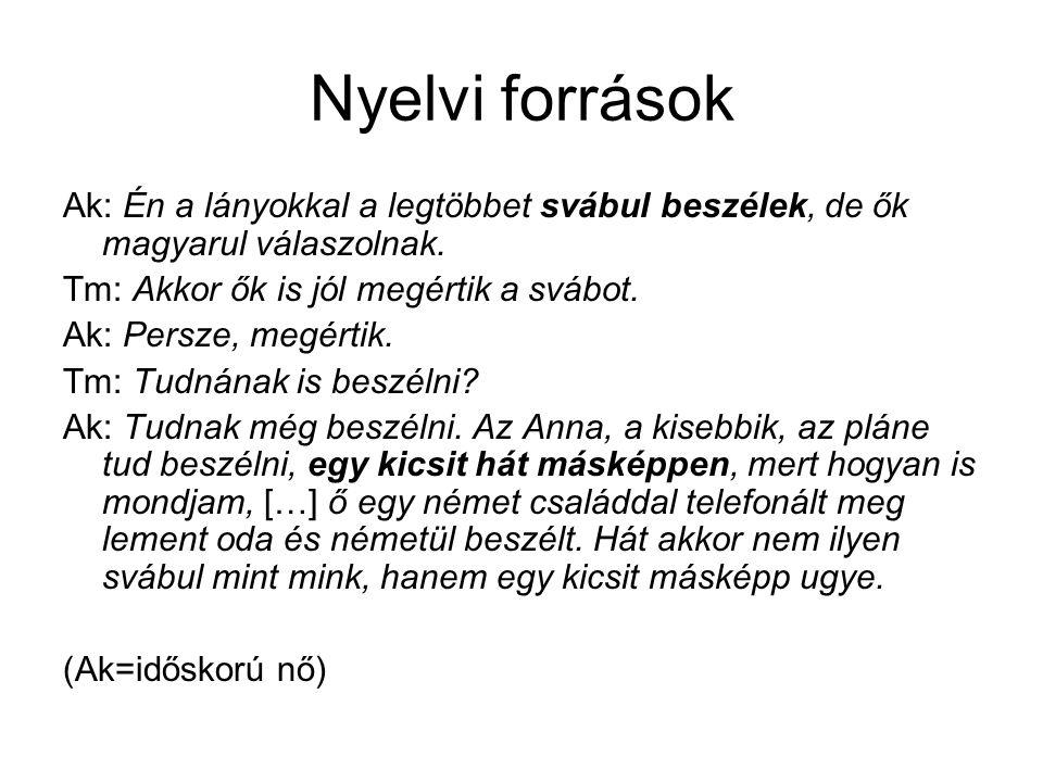 Nyelvi források Ak: Én a lányokkal a legtöbbet svábul beszélek, de ők magyarul válaszolnak. Tm: Akkor ők is jól megértik a svábot. Ak: Persze, megérti