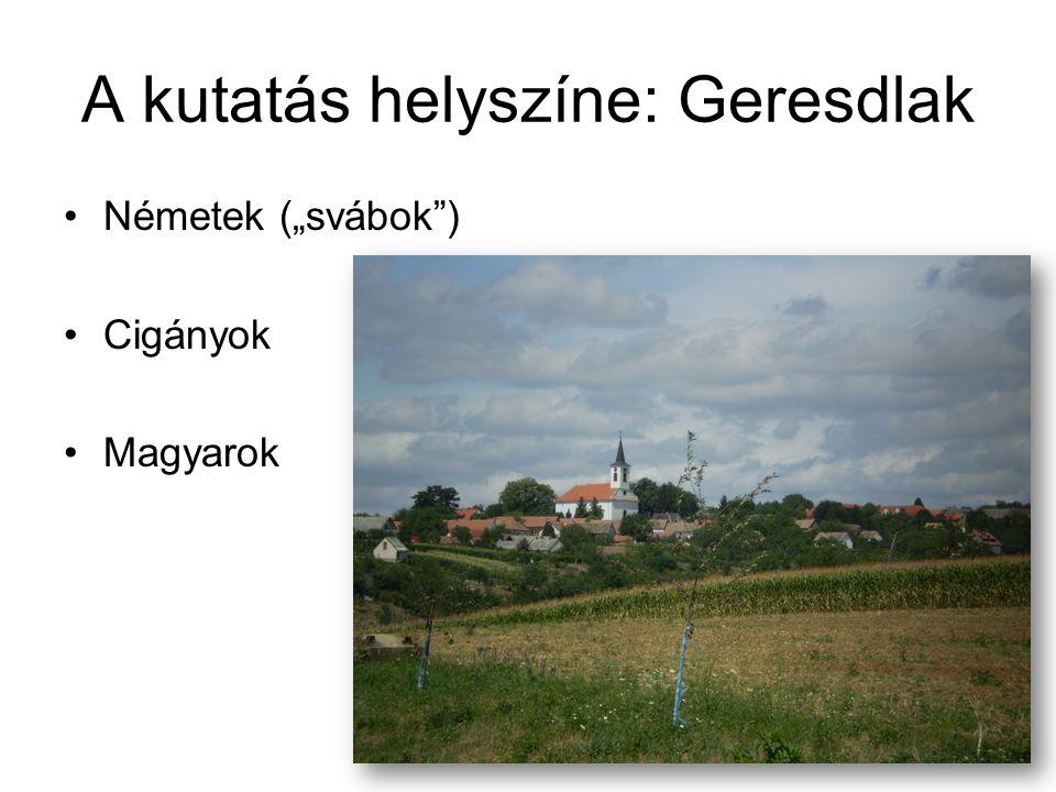 """A kutatás helyszíne: Geresdlak •Németek (""""svábok"""") •Cigányok •Magyarok"""