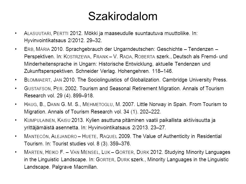 Szakirodalom •A LASUUTARI, P ERTTI 2012. Mökki ja maaseudulle suuntautuva muuttoliike. In: Hyvinvointikatsaus 2/2012. 29–32. •E RB, M ÁRIA 2010. Sprac